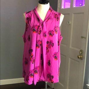 Rachel Zoe Sleeveless Floral Print Neck Tie Top